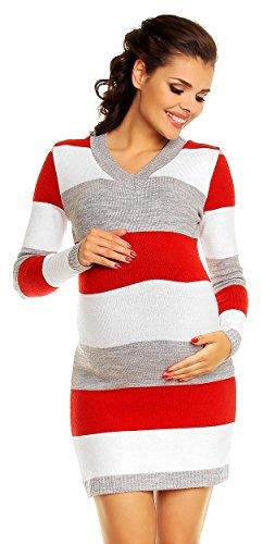 Zeta Ville Damen Umstands Blockfarben Strickkleid Streifen Pulloverkleid - 405c (Rot, 36-40, ONE Size)