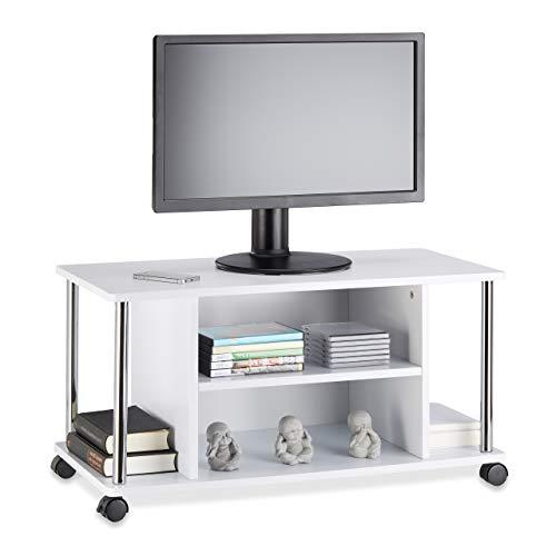 Relaxdays 10021865 Mobile TV Bianco, con 4 ruote, Carrello Porta Televisore in Legno MDF, HxLxP: 41,5 x 80 x 40 cm