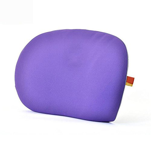 MIAO auto Lumbar - Memory katoen ademende taille kussen, auto met ultradunne rug kussen, bureaustoel Lumbar pad, paars