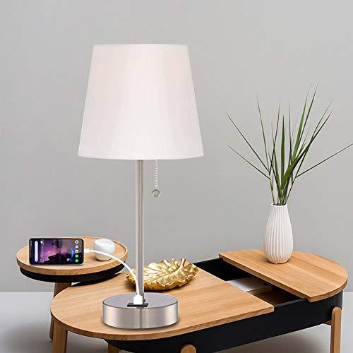 Z·Bling Tischlampe,Nachttischlampe mit USB-Ladefunktion,mit Zugschalter Stehlampe auf Tisch,E27-Fassung für Wohnzimmer,Kinderzimmer,Schlafzimmer,Esszimmer Eckig