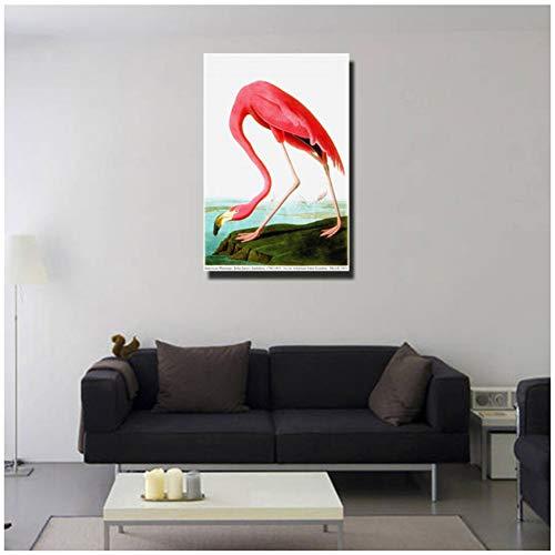 sjkkad moderne dierfoto's American Flamingo muurkunst decoratie schilderij kunst gedrukt op canvas voor wanddecoratie -60x90 cm geen lijst