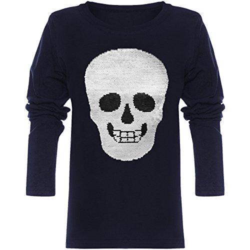 BEZLIT Jungen Langarmshirt Wende-Pailletten Totenkopf Long T-Shirt 21721 Navy Größe 140
