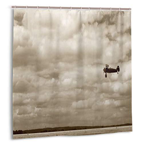 Throwpillow Duschvorhang,Flugzeug im dramatischen bewölkten Himmel Aviation Flyby Obsolete Composition Print,wasserdicht hochwertige Qualität Duschvorhänge inkl 12 Ringe