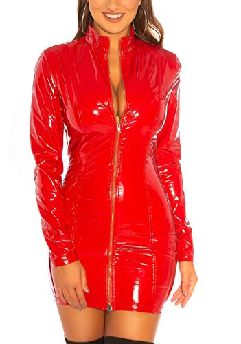Koucla Kleid Wetlook Lederlook Lack Optik Minikleid Gogo mit 2-Way-Zip (Rot, S)