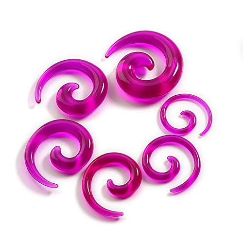CHENGTAO 12 Unids Acrílico Ear Topers Espiral Ear Piercing Body Jewelry Mix Lots Fake Plug Tunnel Kit (Metal Color : F)