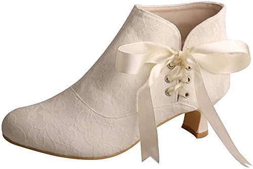 Wedopus Damen Lace Short Boots Low Heel Elfenbein Wei? Brautschuhe Stiefel Gr??e 36 Ivory