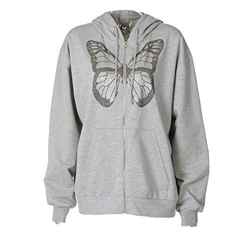 N-B Y2K Sudadera con Capucha y Sudadera para Mujer con Estampado de Mariposas y Cremallera con cordón