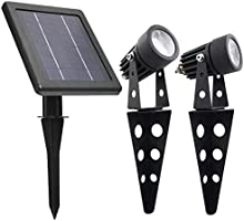 MINI 50X Twin Solar-Powered Cast Aluminium Warm White LED Spotlight 60-100 Lumen Per Light Fixture for Outdoor Garden...