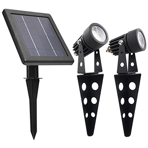 Mini 50X Twin Solar-Powered Cast Aluminium Warm White LED Spotlight...