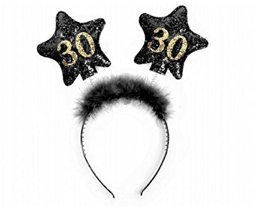 Partydeco- Cerchietto Compleanno con Numero 30, Nero/Oro, OP30