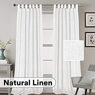 """Linen Curtains Natural Linen Blended Curtains Tab Top Window Treatments Panels Drapes for Living Room / Bedroom, Elegant Energy Efficient Light Filtering Curtains (Set of 2, 52"""" x 108""""?Pure White)"""
