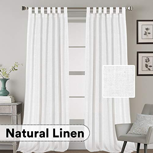 Linen Curtains Natural Linen Blended Curtains Tab Top Window Treatments Panels Drapes for Living Room / Bedroom, Elegant Energy Efficient Light Filtering Curtains (Set of 2, 52' x 108',White)