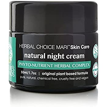 Natural Night Cream by Herbal Choice Mari (1.7 Fl Oz Glass Jar) - Made with Organic Ingredients - No Toxic Chemicals