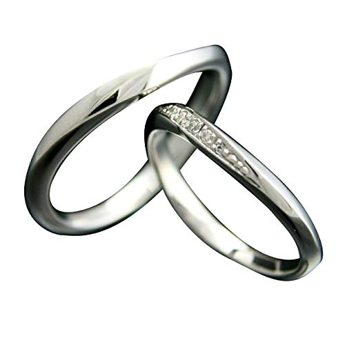 [ココカル]cococaru ペアリング シルバー リング2本セット ダイヤモンド マリッジリング 結婚指輪 日本製(レディースサイズ17号 メンズサイズ13号)
