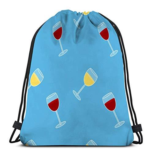 KKs-Shop Rucksack Sport Bunte Zeichnung Alkohol Trinken Nahtlose Muster Brille Rot Weißwein Blau Isoliert