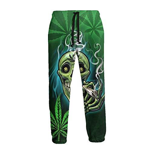 Happy Skull Head Smoking Marihuana Leaf Weed Joggers Pantalones Pantalones Deportivos Track Pantalones Hombre