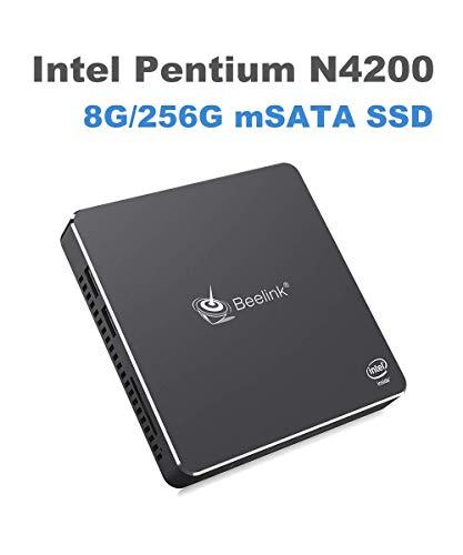 Beelink Gemini T45 Mini PC,Windows 10 Computer Intel Pentium N4200 Ultra-thin Mini Computer, RAM 8GB/256GB Support Dual System(Windows Ubuntu)/ SSD mSATA/Dual WiFi/BT 4.0
