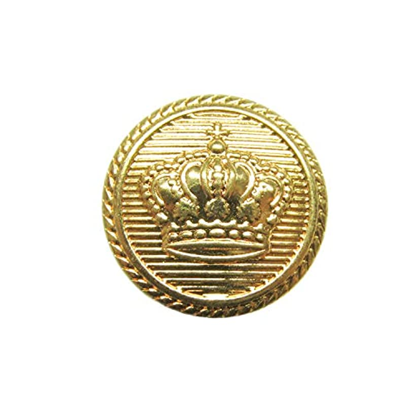 ButtonMode Crown Design Metal Blazer Buttons 12pc Set Includes 4 Jacket Front Buttons x 19mm (3/4 Inch), 8 Jacket Sleeve Buttons x 15mm (9/16 Inch), Gold Color Metal, 12-Buttons
