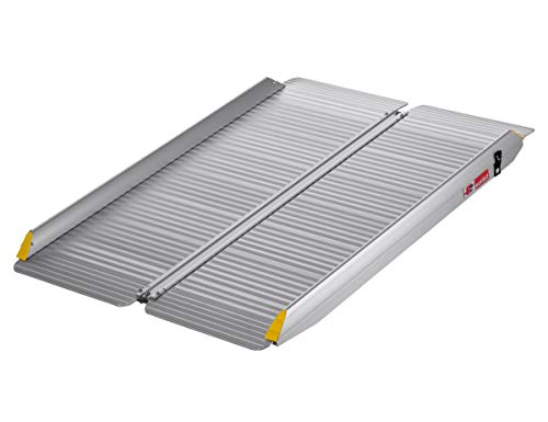 FTsolid extrabreite mobile Rollstuhlrampe aus Aluminium klappbar 120cm Länge x 80cm Breite, für Rollstuhl oder Rollator, Auffahrrampe für Treppen, Rampe