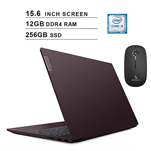 2020 Newest Lenovo S340 15.6 Inch Laptop| Intel Quad-Core i5-8265U up to 3.9GHz| 12GB DDR4 RAM| 256GB SSD| WiFi| Bluetooth| Windows 10| Purple + NexiGo Wireless Mouse Bundle