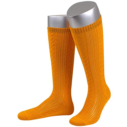 JD Damen Trachtensocken Trachtenstrümpfe Zopf Socken, Göße:39-41, Farbe:Orange