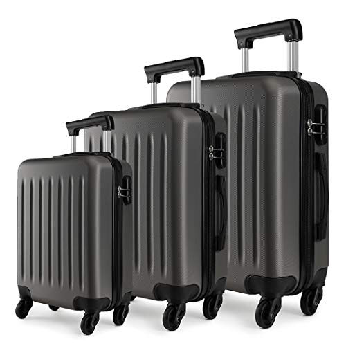 Kono Luggage Sets of 3pcs Lightweight ABS Hard Shell Trolley...