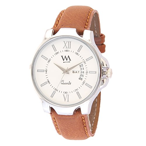 Watch Me White Dial Brown Leather Men's Analog Stylish Watch - AWC-018