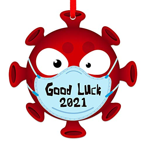 """SICOHOME 2021 Christmas Ornament, 3.5"""" Good Luck 2021 Face Mask Quarantine Christmas Ornament,Covid Ornament for Christmas Tree Decoration,Mask Ornament 2021"""