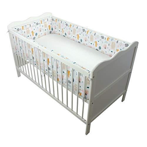 TupTam Baby Nestchen für Babybett Gemustert, Farbe: Wald/Beige, Größe: 420x30cm (für Babybett 140x70)