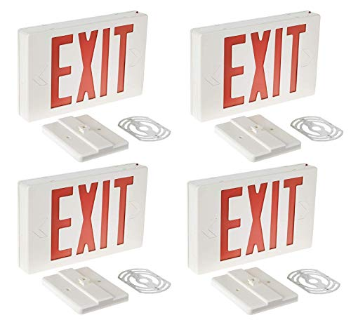 Gruenlich LED Emergency EXIT Sign with Double Face and Back Up Batteries- US Standard Red Letter Exit Lighting, UL 924 Qualified, 120-277 Voltage (4-Pack)