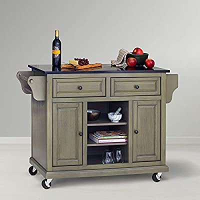 Glenwillow Home Kitchen Cart with Locking Casters from