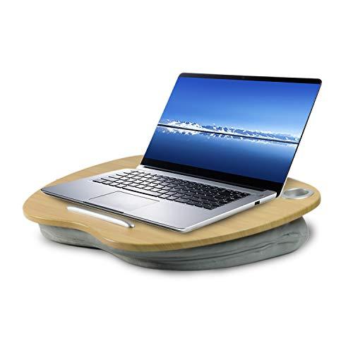 VLOXO - Mesa portátil para ordenador portátil, con cojín y plataforma de bambú en la cama y el sofá, con orificio para cable y tira antideslizante para portátiles...