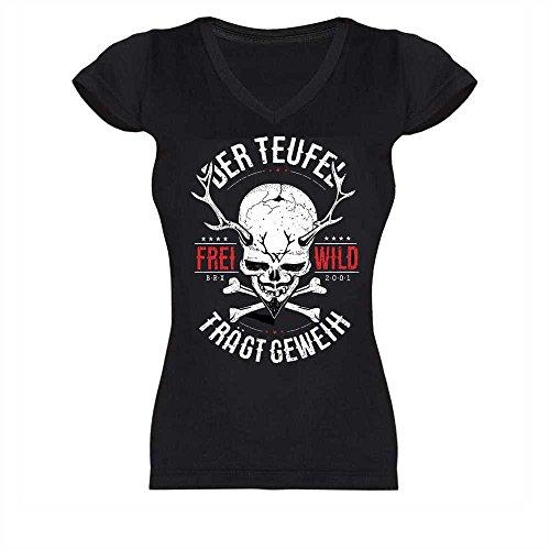 Frei.Wild - Der Teufel trägt Geweih Girl V-Neck-Shirt, schwarz, Größe M