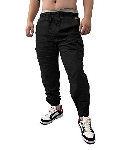 SOMTHRON Uomo Cintura Elastica in Cotone Lungo da Jogging Pantaloni Sportivi Taglie Forti Pantalone Sportivo da Lavoro con Pantaloncini Pantaloni da Jogging Pantaloni Activewear (BL-XL)