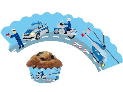 12 Polizei - Cupcake Deko Banderolen von DH-Konzept // Muffinförmchen Muffin Förmchen Kindergeburtstag Geburtstag Party Kuchen Police