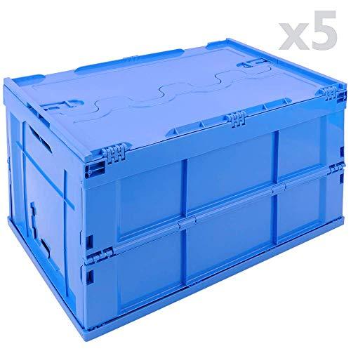 PrimeMatik - Opvouwbare en stapelbare EuroBox-plastic doos. Blauwe container met deksel 60x40x32cm 65L 5-pack