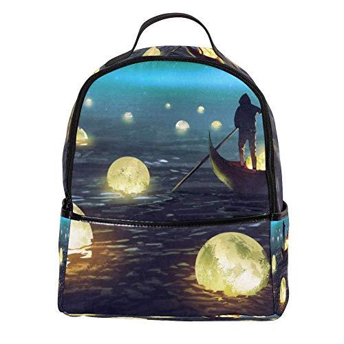 TIZORAX Laptop-Rucksack, schwebender Mond, schwebt auf dem Meer, lässig, Schultertasche, Tagesrucksack für Studenten, Schultasche, Handtasche – leicht
