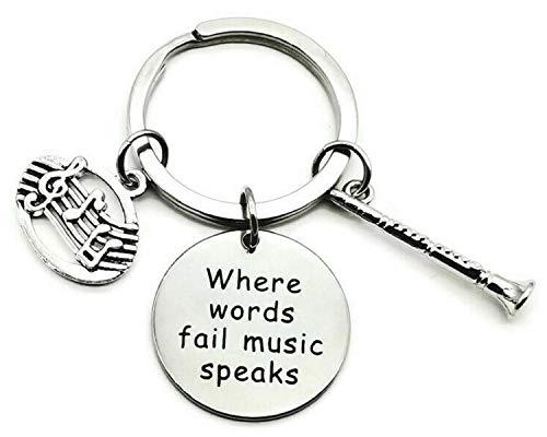 Clarinet Keychain, Music Keychain, Woodwind Instrument Keychain, Musical Instrument Keychain, Music Note Keychain, Woodwind Instrument Key Ring, Music Key Ring, Music Charm Keychain, Clarinet Key Ring