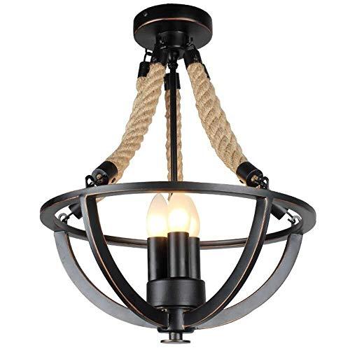 JUE Luz de Techo - Lámparas Retro del Viento Industrial Cordel de la lámpara de Hierro Forjado del Techo del Restaurante Personalidad Lámpara Colgante Colgante Dormitorio Principal A++