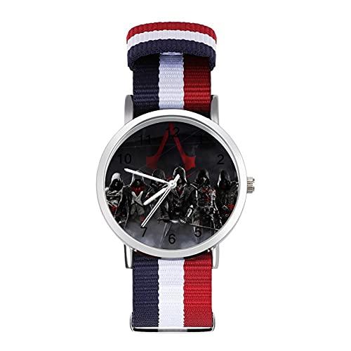 Assassin's Creed - Reloj de ocio para adultos con trenza escala, ajustable y elegante espejo de cristal de 1.6 pulgadas para hombres y mujeres