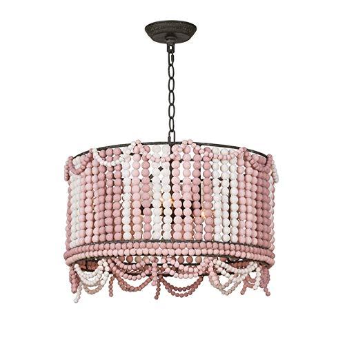 Lámpara de araña de metal vintage E14 luz de techo antigua iluminación colgante industrial nórdica para cafetería restaurante pasillo rosa 50 * 50 cm