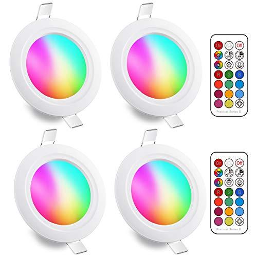 LED Einbaustrahler 8W (ersetzt 60W), RGBW mit Fernbedienung Rund Deckenspots IP44 Weiß 5700K Einbauleuchte RGB Farbwechsel Farbige Dimmbare ultra Flach (4er-Pack)