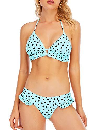 GALEBOVA Bikini Set Badeanzüge für Frauen Rüschen Volant Badebekleidung Herzmuster Badeanzug (S, Blau)