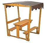 GASPO Kinder-Sandtisch aus Holz mit Laube, Sankasten mit Dach B 132,5 cm x T 99 cm x H 136,5 cm