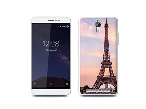 etuo Handyhülle für Coolpad Porto S - Hülle, Silikon, Gummi Schutzhülle - Eiffelturm in Paris