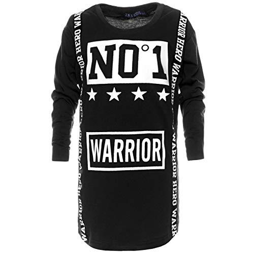 Kinder Jungen Long-Shirt Pulli Pullover Sweater Sweat Langarm-Shirt 21763 Schwarz 176