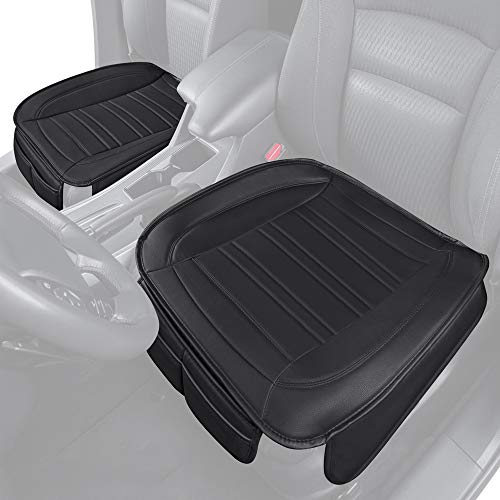 Motor Trend - MTSC-420 Black Universal Car Seat Cushions, Front Seat 2-Pack – Padded Luxury Cover with Non-Slip Bottom & Storage Pockets, Faux Leather Cushion Cover for Car Truck Van and SUV