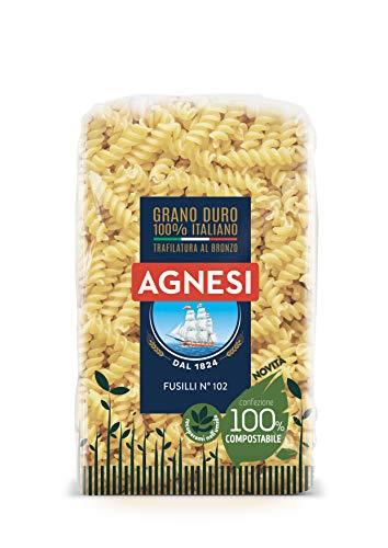 Agnesi Fusilli   Pasta di semola di grano duro 100% italiano   Trafilatura al bronzo   Confezione compostabile da 500 grammi