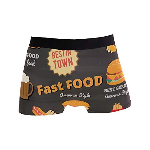 Fast Food Hamburger Hot Dog Pommes Boxershorts Herren Unterwäsche Jungen Stretch Atmungsaktiv Low Rise Trunk S Gr. M, mehrfarbig