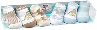 Country Kids Baby Boys' Dinosaur Camo Stripe Stocking Stuffer Socks, Seamless Toe, 6 Pair Gift Set
